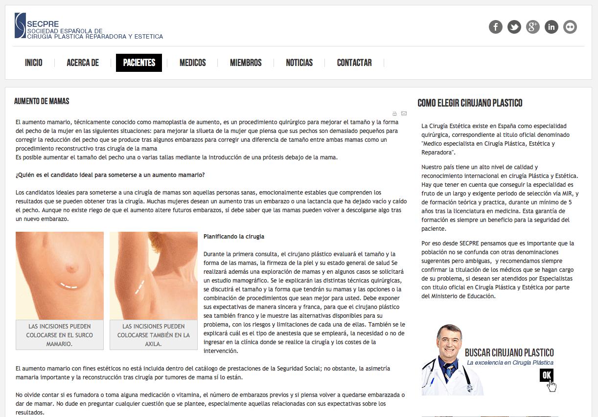 Comunicado de prensa de la SECPRE acerca de las prótesis mamarias «PIP»