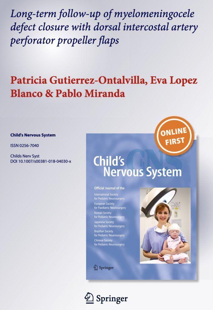 La revista científica internacional Child's Nervous System ha incluído un artículo mío sobre el mielomeningocele (MMC) en su número de Enero 2019.